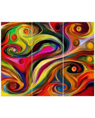 East Urban Home 'Abstract Shape Colorful Design Series' Print Multi-Piece Image on Wrapped Canvas FCIV5500