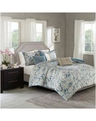 8d51e2e59b28 Madison Park Gabby Queen 7 Piece Comforter Set in Blue - Olliix MP10-3311