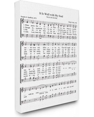 """Charlton Home 'It is Well with My Soul Vintage Sheet Music' Textual Art CHRL8351 Size: 40"""" H x 30"""" W Format: Wrapped Canvas"""