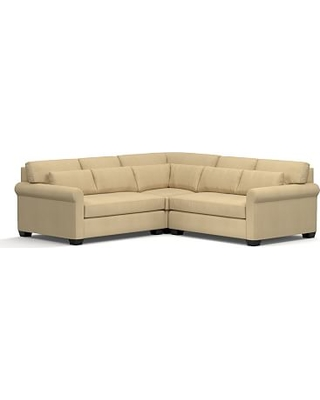York Roll Arm Upholstered Deep Seat 3-Piece L-Shaped Corner Sectional, Down Blend Wrapped Cushions, Performance Everydaysuede(TM) Oat