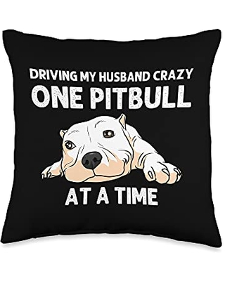 Best Pittie Pup & Bull Terrier Bulldog Owner Arts Funny Pitbull Gift For Women Mama Canine Dog Puppy Animal Throw Pillow, 16x16, Multicolor