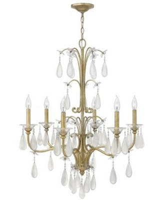 Bartholdi 6 - Light Candle Style Classic / Traditional Chandelier with Crystal Accents