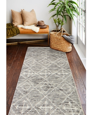 """Jenny Transitional Hand Knotted Area Rug (Grey 2'6"""" x 8' Runner)"""