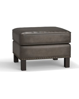 Tyler Leather Ottoman with Bronze Nailheads, Polyester Wrapped Cushions, Leather Burnished Wolf Gray