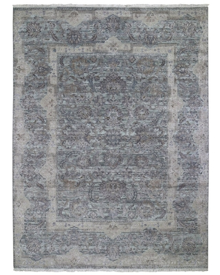 """Hand Knotted Green Transitional with Wool & Silk Oriental Rug (8'10"""" x 11'10"""") - 8'10"""" x 11'10"""""""