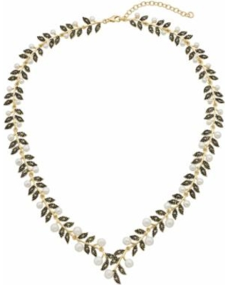 """Le Vieux 18k Gold Over Silver Freshwater Cultured Pearl & Marcasite Leaf Necklace, Women's, Size: 17"""", White"""