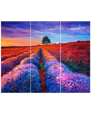 East Urban Home 'Sunset Lavender Field Abstract Artwork' Print Multi-Piece Image on Wrapped Canvas FCIV6452