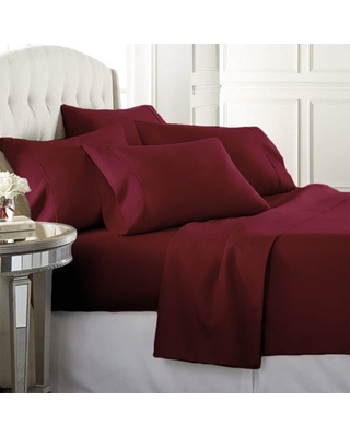 Luxury Home Super-Soft 1600 Series Double-Brushed 3 Pcs Bed Sheets Set (Twin, Burgundy)