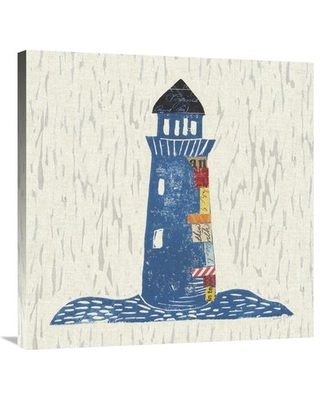 """'Nautical Collage II on Linen' Graphic Art Print on Canvas East Urban Home Size: 30"""" H x 30"""" W"""