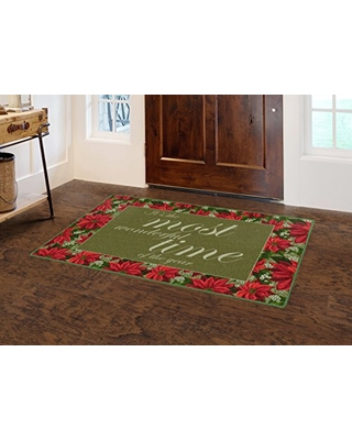 "Brumlow Mills Most Most Wonderful Time Christmas Kitchen And Entryway Holiday Rug, 2'6"" x 3'10"""