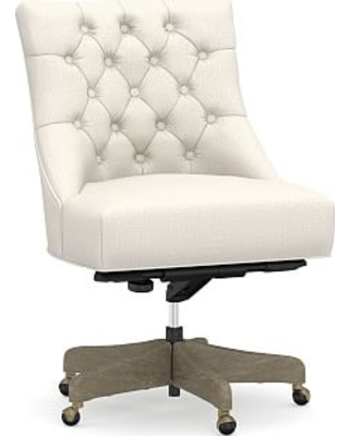 Marvelous Hayes Upholstered Tufted Swivel Desk Chair With Gray Wash Frame Ocoug Best Dining Table And Chair Ideas Images Ocougorg