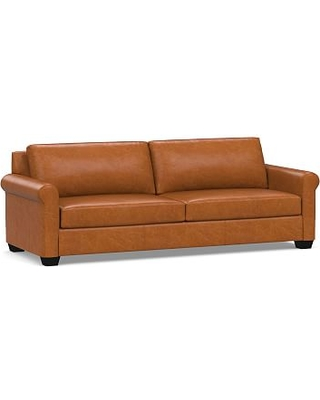 "York Roll Arm Leather Grand Sofa 98"", Polyester Wrapped Cushions, Vintage Caramel"