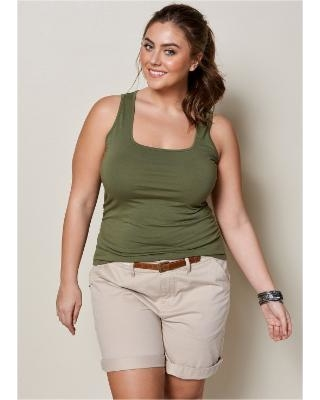 """""""Plus Size Square Neck Tank TOP Tops - Green"""""""