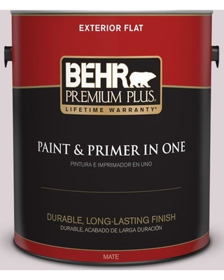 BEHR Premium Plus 1 gal. #100E-2 Mauve Mist Flat Exterior Paint and Primer in One