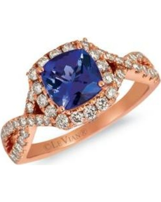 Le Vian Strawberry Gold Creme Brulee 3/8 ct. t.w. Blueberry Tanzanite, 5/8 ct. t.w. Nude Diamonds™ Ring set in 14K Strawberry Gold