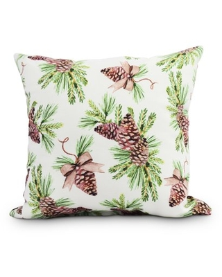 Greenery 20 Inch Off White Holiday Print Decorative Outdoor Throw Pillow