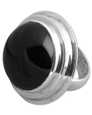 Round Onyx and Silver Cocktail Ring