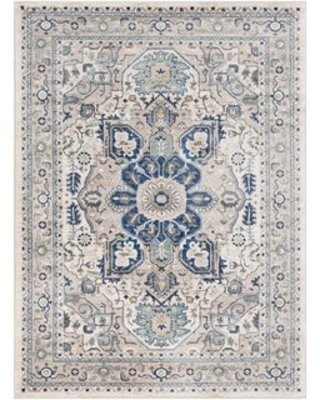 """Quincey Navy & Grey Traditional Area Rug - 7'10"""" x 10'3"""" - 7'10"""" x 10'3"""" (7'10"""" x 10'3"""" - Navy/Ivory)"""