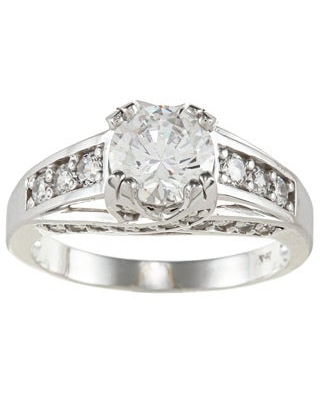 14k White Solid Gold 2 1/2ct TGW Round-cut Cubic Zirconia Cocktail Ring - White Solid Gold (6.5)
