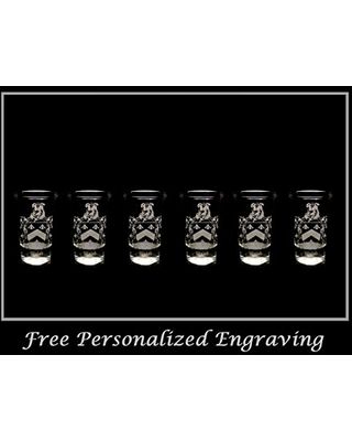 Walsh Irish Family Coat of Arms Shot Glass 2oz Set of 6 - Free Personalized Engraving