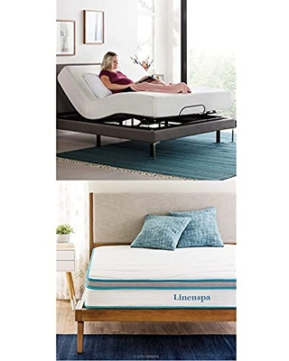 Linenspa Adjustable Bed Base-Motorized Head and Foot Incline and Linenspa 8 Inch Memory Foam and Innerspring Hybrid Medium-Firm Feel Mattress, Queen