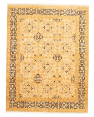 """One-of-a-Kind Bleecker Hand-Knotted 2010s Sarough Light Brown 9' x 11'10"""" Wool Area Rug"""