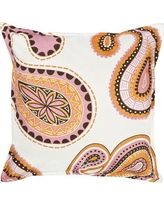 Greendale Home Fashions Paisley Cotton Canvas Throw Pillow TP5214- Color: Pink/Orange