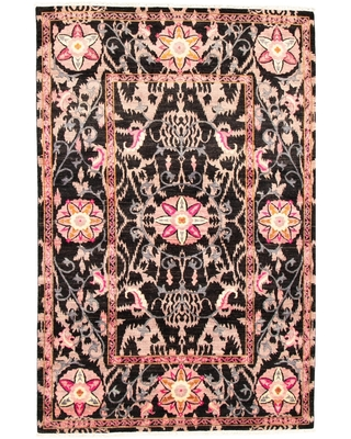 Hand-knotted Signature Collection Black, Pink Rug - ECARPETGALLERY - 8'0 x 11'2