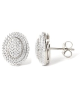 Imperial 1/6Ct TDW Diamond Cluster Oval Halo Stud Earrings in Sterling Silver (H-I, I2)