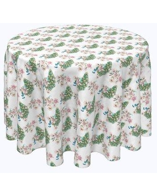 "Bloomsbury Market Vishwakarma Watercolor Peacocks and Flowers Tablecloth X113022560 Size: 84"" x 84"""