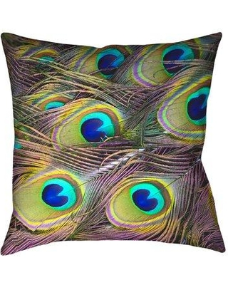 """Bloomsbury Market Helsel Peacock Feathers Double Sided Throw Pillow BLMS2894 Size: 26"""" x 26"""" Type: Throw Pillow"""
