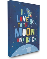 "I Love You Moon and Back Rocket Ship Stretched Canvas Wall Art (16""x20""x1.5) - Stupell Industries, Blue"