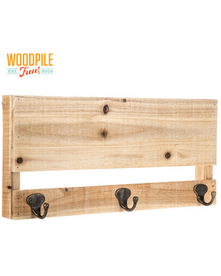 Wood Panel Wall Decor with Hooks