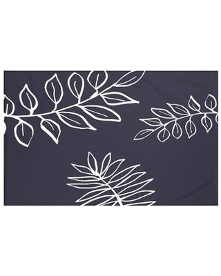 "e by design My Best Frond Floral Print Throw Blanket HFN190 Size: 60"" L x 50"" W, Color: Navy Blue"
