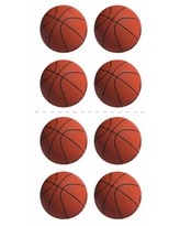 Paper House Productions ST-2063E Photo Real Stickypix Stickers, 2-Inch by 4-Inch, Basketballs (6-Pack)