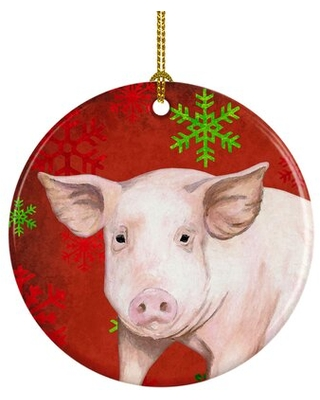 Shop Deals For Pig Snowflakes Holiday Christmas Ceramic Hanging Figurine Ornament The Holiday Aisle