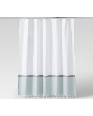 ddbbd828fc Get the Deal: Woven Shower Curtain Green/White - Project 62