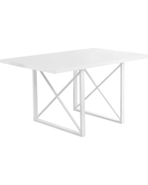 Dining Table - White Glossy, White Metal - EveryRoom