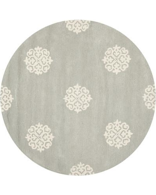 Alcott Hill Backstrom Hand-Tufted Gray/Ivory Area Rug ACOT3533 Rug Size: Round 4'