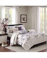 Luna 6 Piece Quilted Coverlet Set Taupe King/Cal King