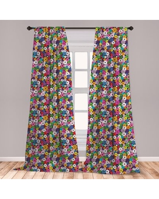 "Flower Room Darkening Rod Pocket Curtain Panels East Urban Home Size per Panel: 28"" x 63"""