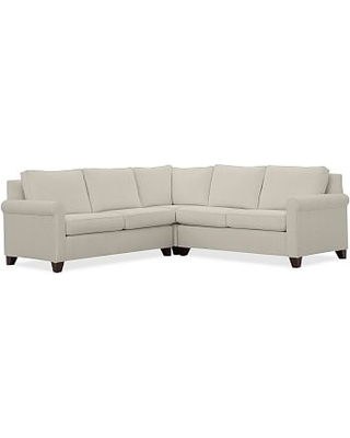 Cameron Roll Arm Upholstered 3-Piece L-Shaped Corner Sectional, Polyester Wrapped Cushions, Premium Performance Basketweave Pebble