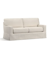 "Buchanan Square Arm Slipcovered Loveseat 77.5"", Polyester Wrapped Cushions, Twill Cream"