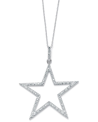 """1/10 TCW Round Diamond Platinum over Sterling Silver Star-Shaped Pendant and Chain 18"""" (Pendant)"""
