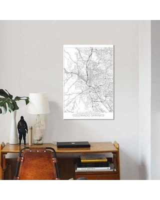 "East Urban Home 'Colorado Springs Minimal Urban Blueprint Map' Graphic Art Print on Canvas EBHU6946 Size: 18"" H x 12"" W x 0.75"" D"