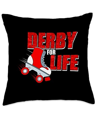 Derby for Life Quote - Roller Derby Skate Throw Pillow
