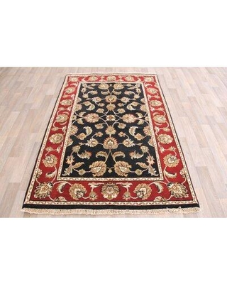 """Canora Grey One-of-a-Kind Jones Traditional Hand-Knotted 4'1"""" x 6'2"""" Wool Red/Black/Ivory Area Rug W001315398"""