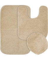 Garland 3 Piece Glamor Nylon Washable Bath Rug Set - Linen