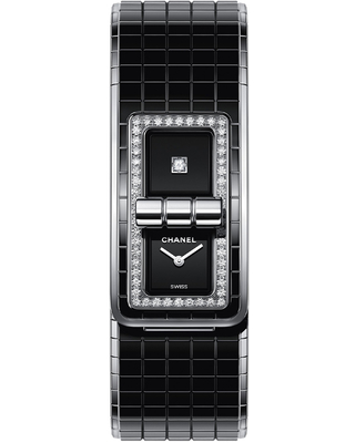 Chanel Code Coco Black Diamond Dial Ladies Steel and Ceramic Watch H5148