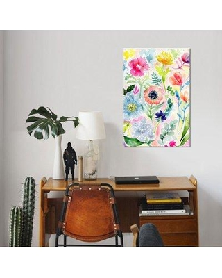 """East Urban Home 'Loose Watercolor Flowers' Print on Wrapped Canvas ESUH7535 Size: 18"""" H x 12"""" W x 0.75"""" D"""